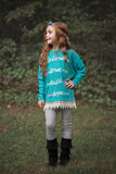 Kids Inspirational Arrows on Blue Tunic with Lace Trim