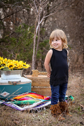 Kids Black Solid Tank with Crochet Lace Trim