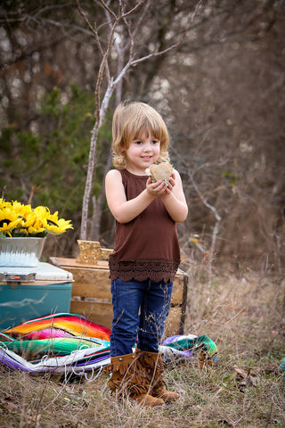 Kids Brown Solid Tank with Crochet Lace Trim