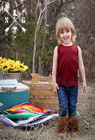 Kids Maroon Solid Tank with Crochet Lace Trim