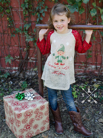 Kids Santa's Little Helper Elf Raglan