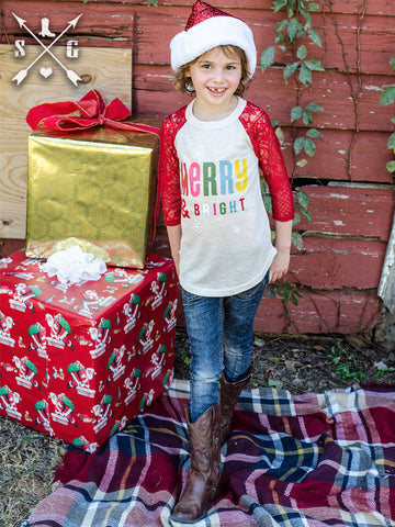Kids Merry and Bright Raglan with Red Lace Sleeves