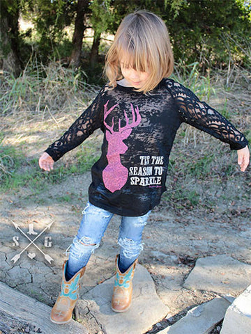 Kids Tis the Season to Sparkle Black Raglan