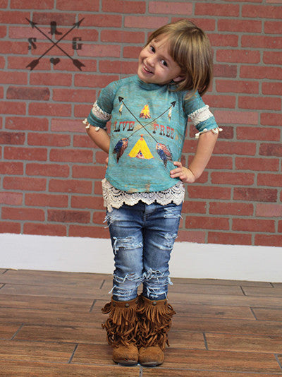 Kids Live Free Crossing Arrows on Patina 3/4 Sleeves