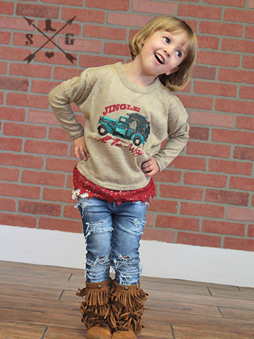 Kids Jingle All the Way Tan Sweater with Red Lace Trim