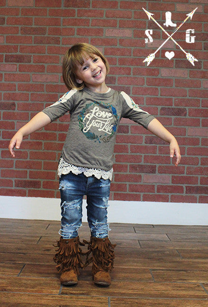 Kids Love Your Life in Taupe with Arrows Inset