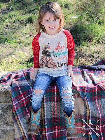 Kids Love Christmas with my Tribe Burnout with Red Lace Sleeves