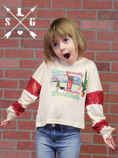 Kids Have Yourself a Merry Little Christmas Cream Tunic with Red Lace Accent Sleeves