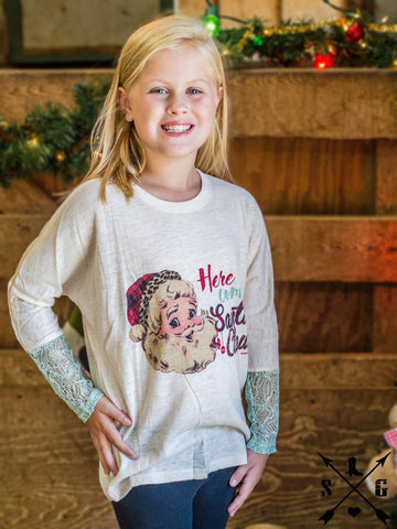 Kids Here Comes Santa Claus Cream Sweater with Aqua Glitter Sleeves
