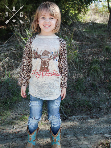 Kids Merry Christmoose Raglan with Leopard Sleeves