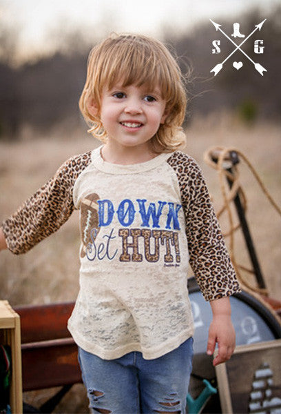 Kids Down Set Hut Raglan with Leopard Sleeves