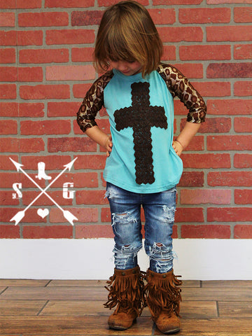Kids Brown Crochet Cross with Shiny Leopard Sleeves Raglan