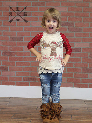 Kids Merry Christmoose Raglan with Red Lace Sleeves