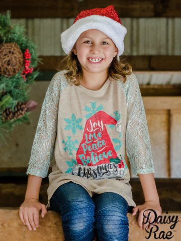 Kids Joy, Love, Peace, Believe Christmas with Mint Lace Sleeves