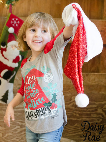 Kids Joy, Love, Peace, Believe Christmas on Grey with Red Lace Sleeves