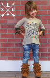 Kids Fearfully and Wonderfully Made on Tan with Brown Back Lace Accent with Brown Tassel Sleeve Trim