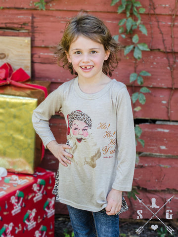 Kids HoHoHo Y'all Vintage Santa on Tan Tunic With Cheetah Lace Side Accents