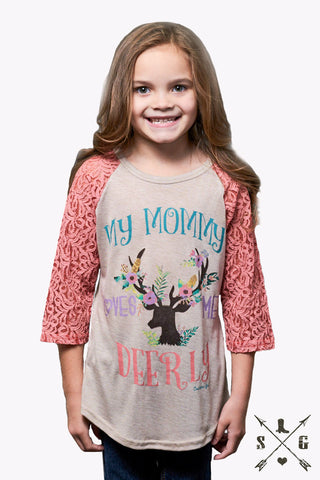 Kids Mommy Loves Me Deerly with Pink Lace Sleeves