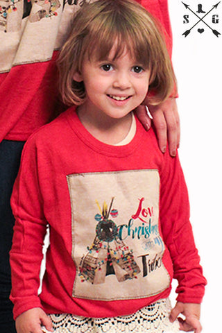 Kids Love Christmas with my Tribe Red Tunic Sweater