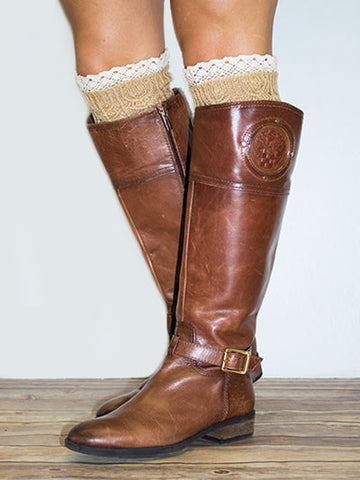 Beige Knit Boot Topper with Lace