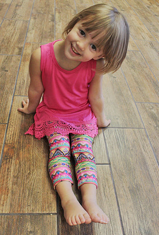 Kids Stretch Aztec Leggings, Pink