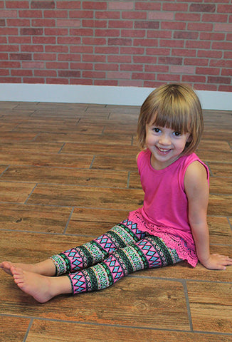 Kids Stretch Aztec Leggings, Green/Pink/Blue