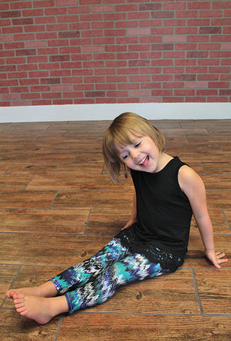Kids Stretch Leggings, Blue Multi