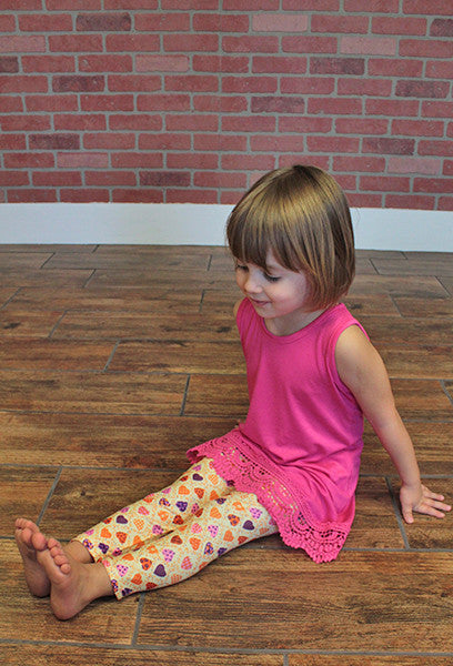 Kids Stretch Leggings, Hearts