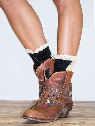 Double Button Black Socks with Lace Top