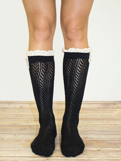 Knee Length Boot Socks with Double Button and Lace Top, Black