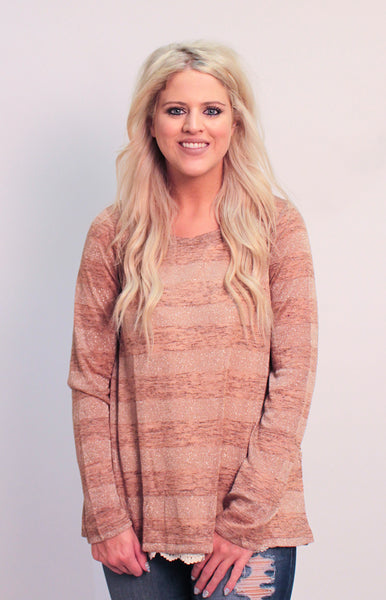 Rose Gold Longsleeve Top With Back Lace Accent