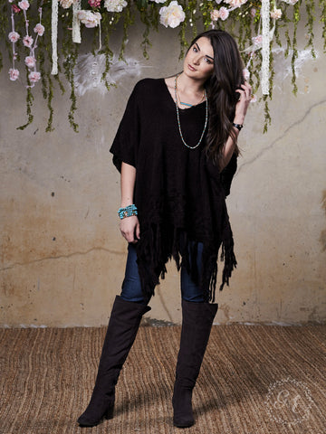 Bethany's Black Button Poncho