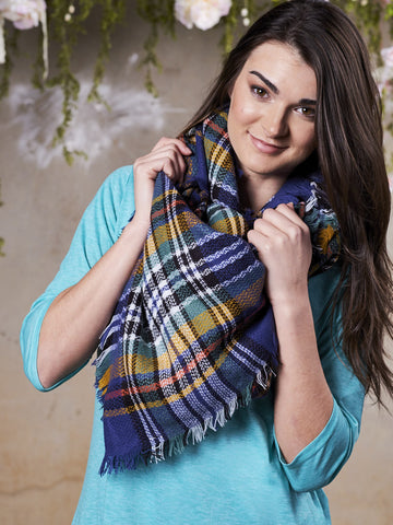 Winter Night Blue Plaid Blanket Scarf