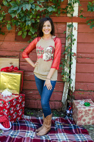 Making Spirits Bright Raglan with Red Sequin Sleeves