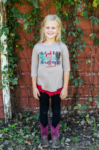 Kids God is With Her She Will Not Fall on Taupe Long Sleeve