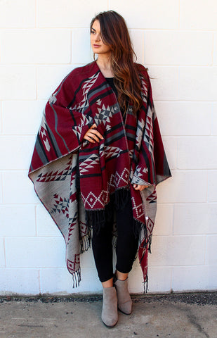 Aztec Print Maroon and Grey Poncho with Tassels