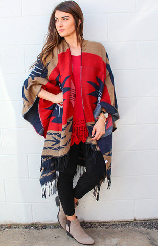 Aztec Print Red and Brown Poncho with Tassels
