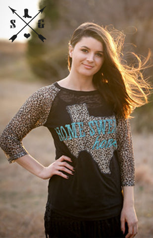 Home Sweet Texas Raglan with Leopard Sleeves