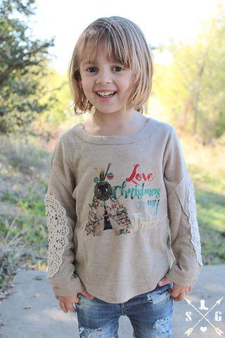 Kids Love Christmas with My Tribe Tan with Crochet Elbow Patches
