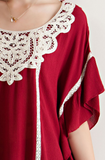Ruffle Blouse with Lace Details, Burgundy