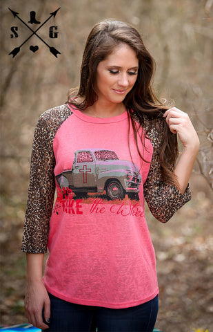 Adults Jesus Take The Wheel Raglan with Leopard Print Sleeves