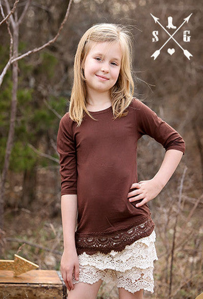 Kids Brown Solid Raglan with Lace Trim