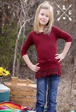 Kids Maroon Solid Raglan with Lace Trim
