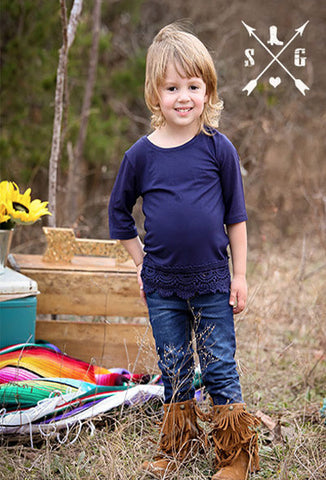 Kids Navy Blue Solid Raglan with Lace Trim