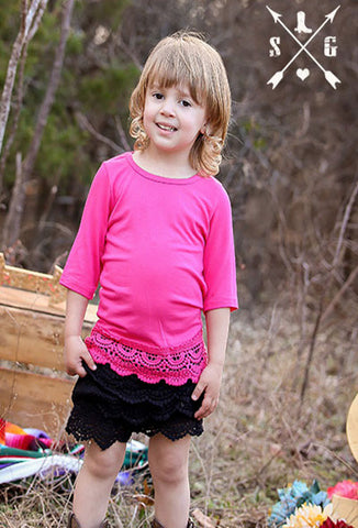 Kids Pink Solid Raglan with Lace Trim