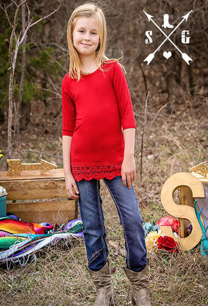 Kids Red Solid Raglan with Lace Trim
