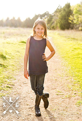 Kids Navy Blue Solid Tank with Crochet Lace Trim