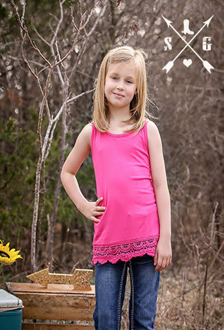 Kids Pink Solid Tank with Crochet Lace Trim