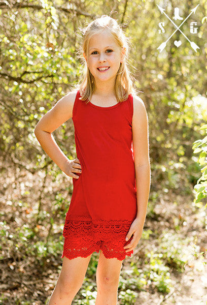Kids Red Solid Tank with Crochet Lace Trim
