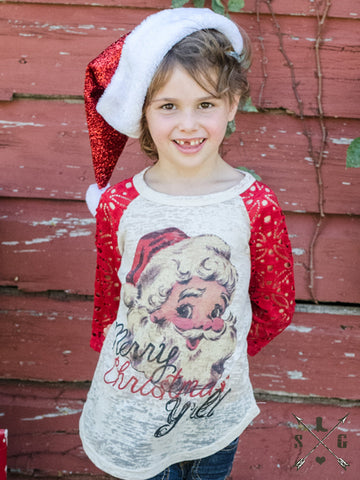 Kids Merry Christmas Y'all Raglan with Red Lace Sleeves